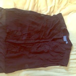 Flowy sheer grey lace Vera Wang top Blouse shirt